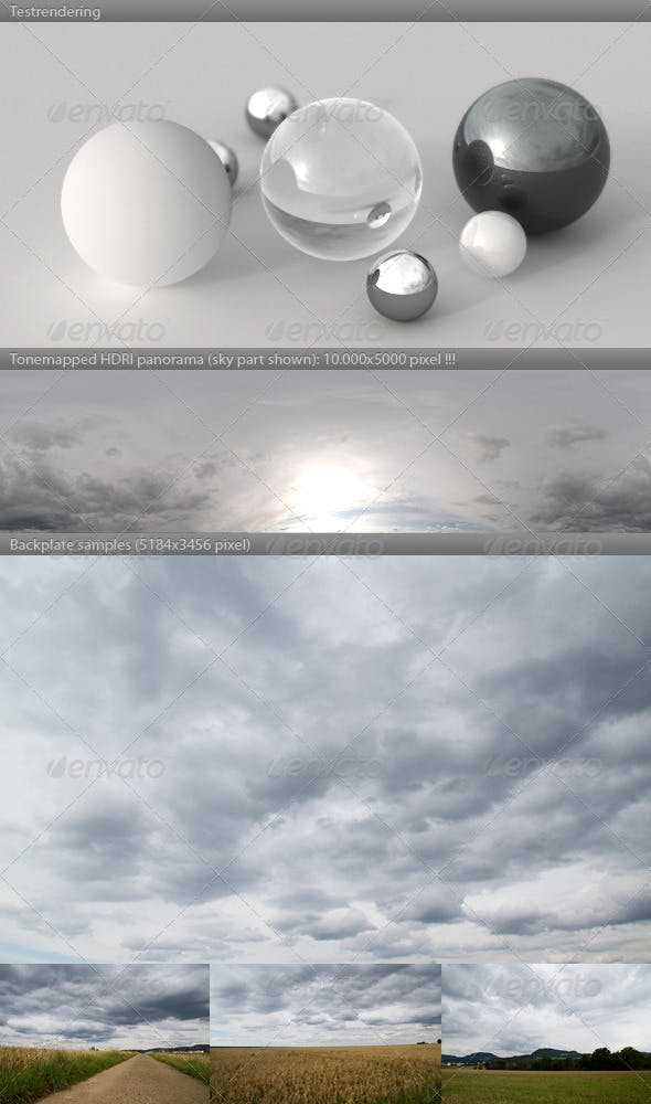 HDRI spherical sky panorama -1808- heavy clouds - 3DOcean Item for Sale