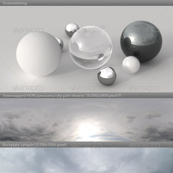 HDRI spherical sky panorama -1808- heavy clouds