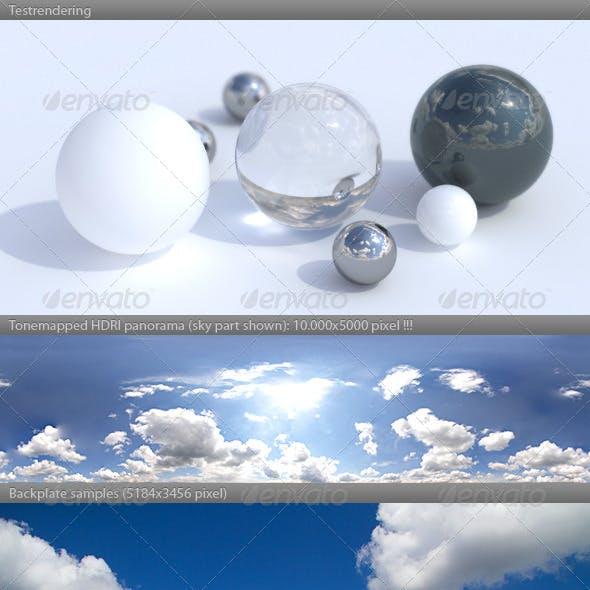 HDRI spherical sky panorama -1442- cloudy sky