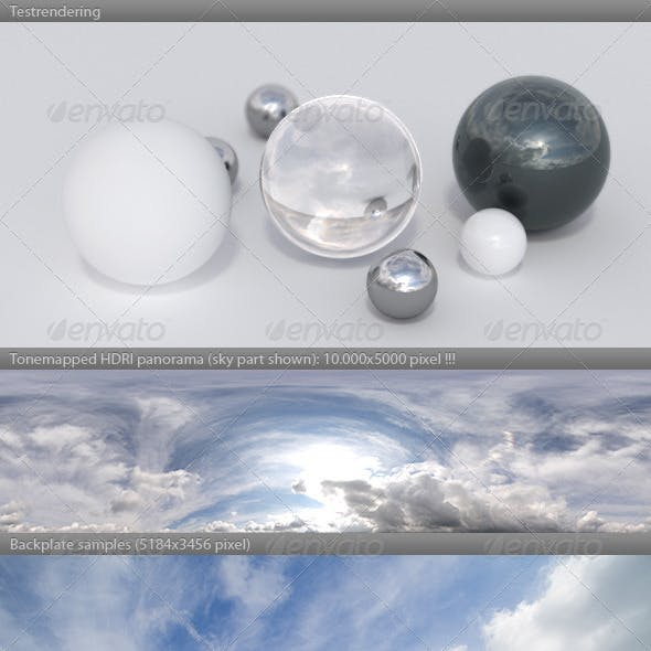 HDRI spherical sky panorama -1012 - cloudy sky