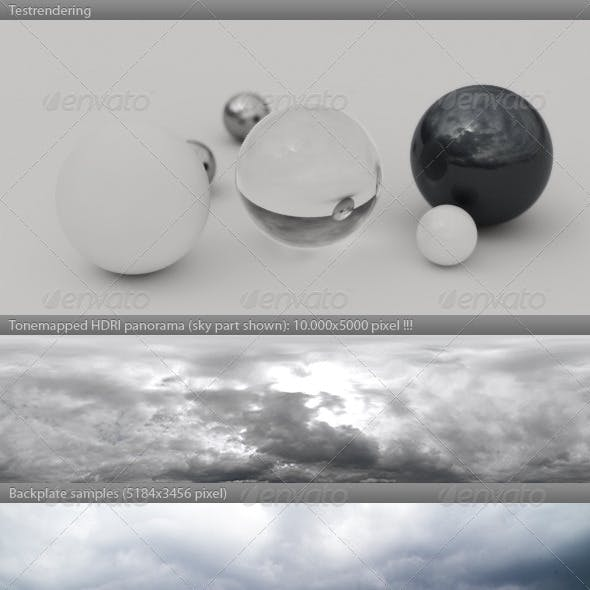 HDRI spherical sky panorama -1232- rain clouds