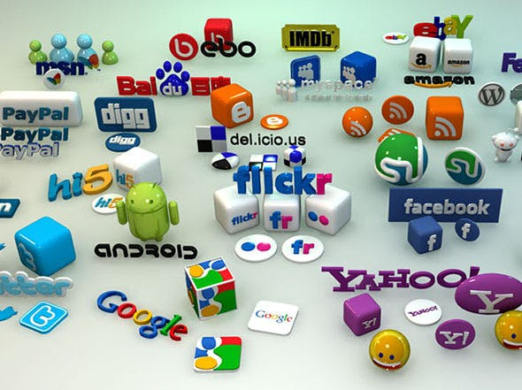 Social Media 3D Icons and Logos - 3DOcean Item for Sale
