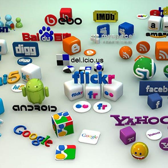 Social Media 3D Icons and Logos (Part 2)