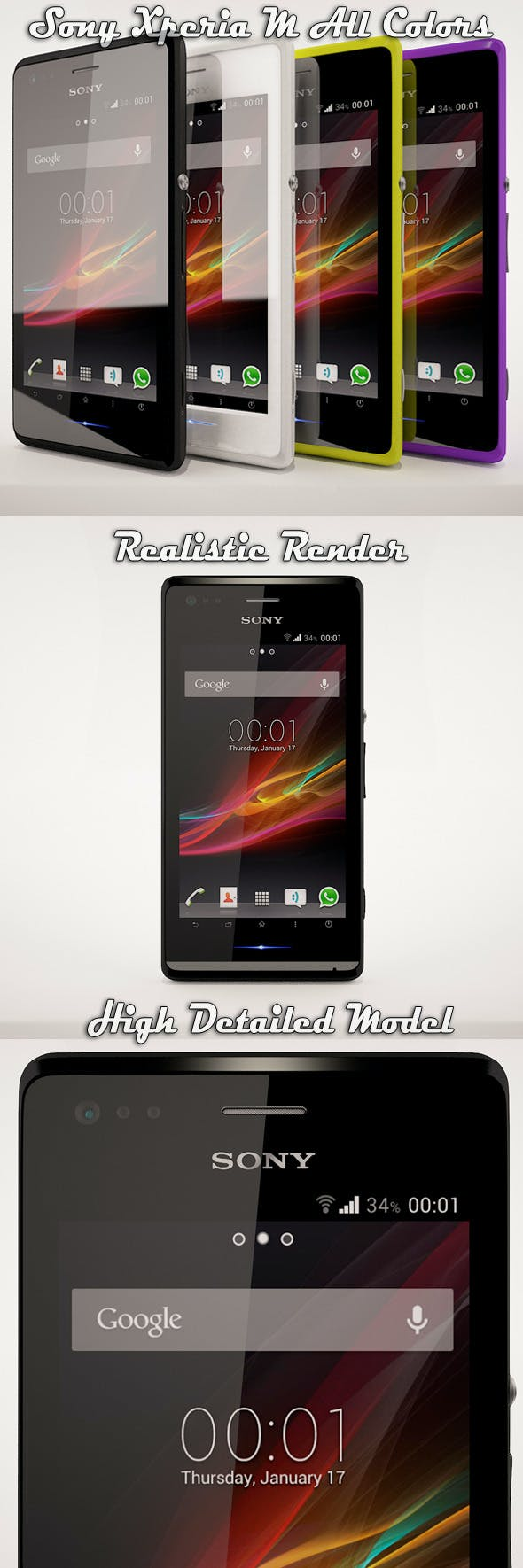 Sony Xperia M All Colors - 3DOcean Item for Sale