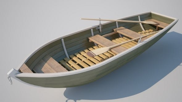 Realistic Boat with Oars - 3DOcean Item for Sale