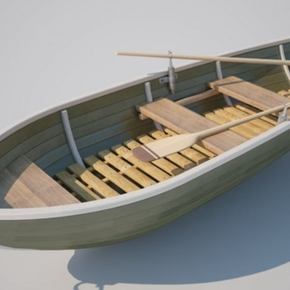 Realistic Boat with Oars