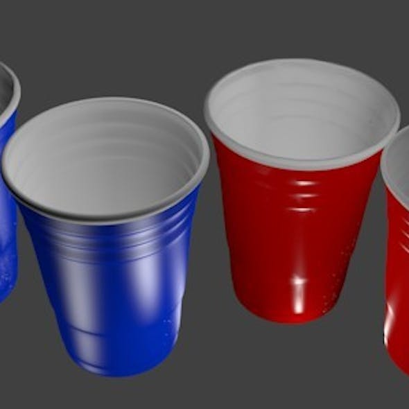 3D Red and Blue Party Cups