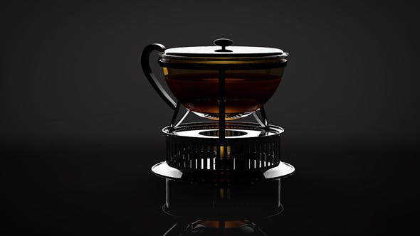 High-Poly BODUM Tea Pot with Stove - 3DOcean Item for Sale