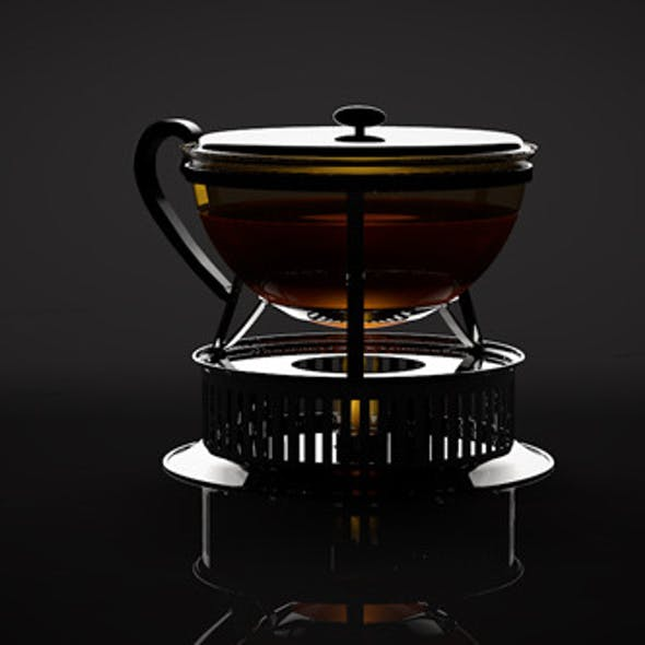 High-Poly BODUM Tea Pot with Stove