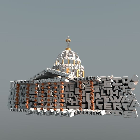 3D Text Building Design Of While House