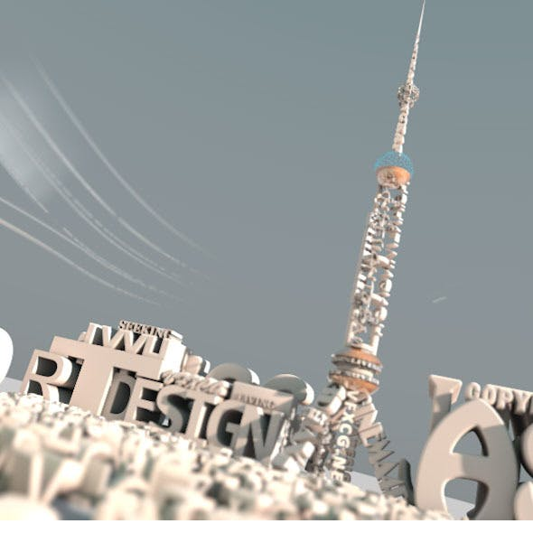 The Text Bluiding Desgin Of TV Tower - 3DOcean Item for Sale
