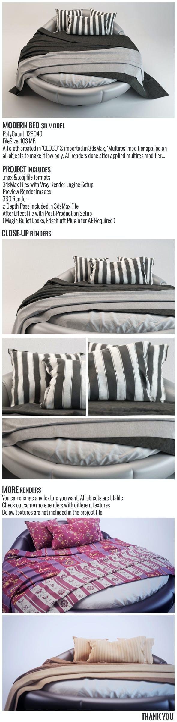 Modern Bed 3D Model - 3DOcean Item for Sale