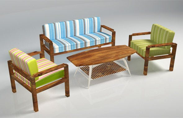Wooden Sofa Pack - 3DOcean Item for Sale