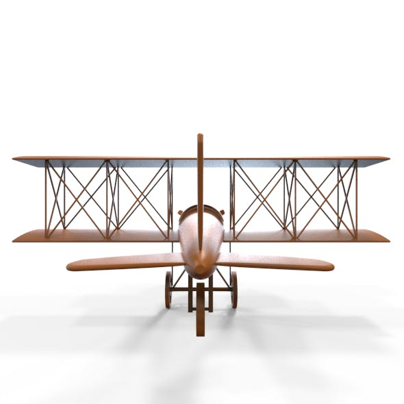 Carved Wooden Airplane Model and Base Mesh
