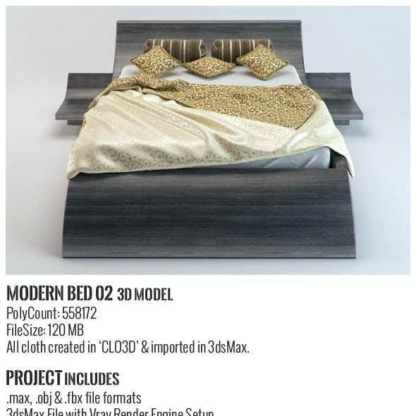 Modern Bed 02 3D Model