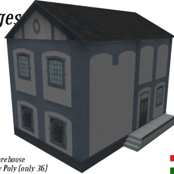 Download Textured Brick Store House (Low Poly)