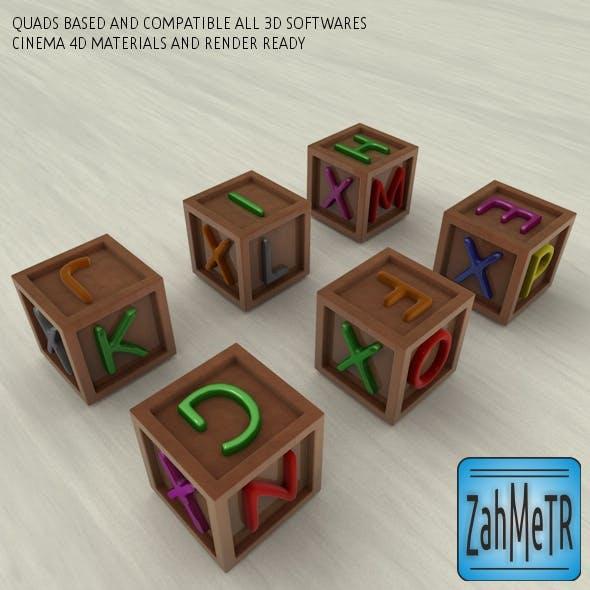 Letters Color Boxes and Quad Base