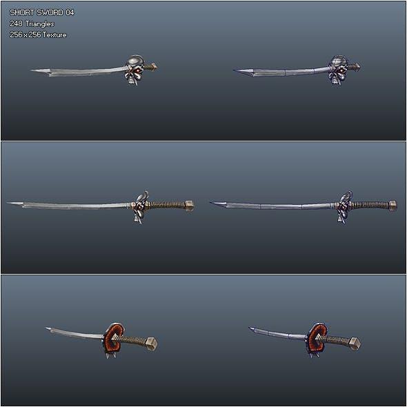 Low Poly Simple Short Sword 04 - 3DOcean Item for Sale