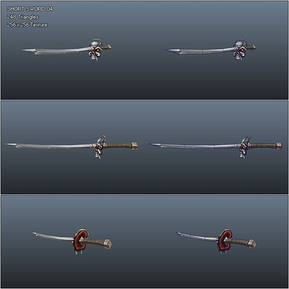 Low Poly Simple Short Sword 04