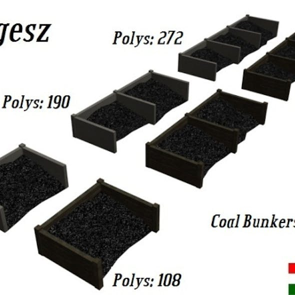 Textured Coal Bunkers Pack (Low Poly)