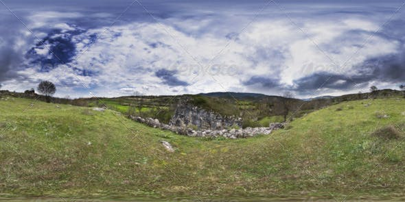 HDRI Cloudy Sky Trees Grassy Land And Rock - 3DOcean Item for Sale
