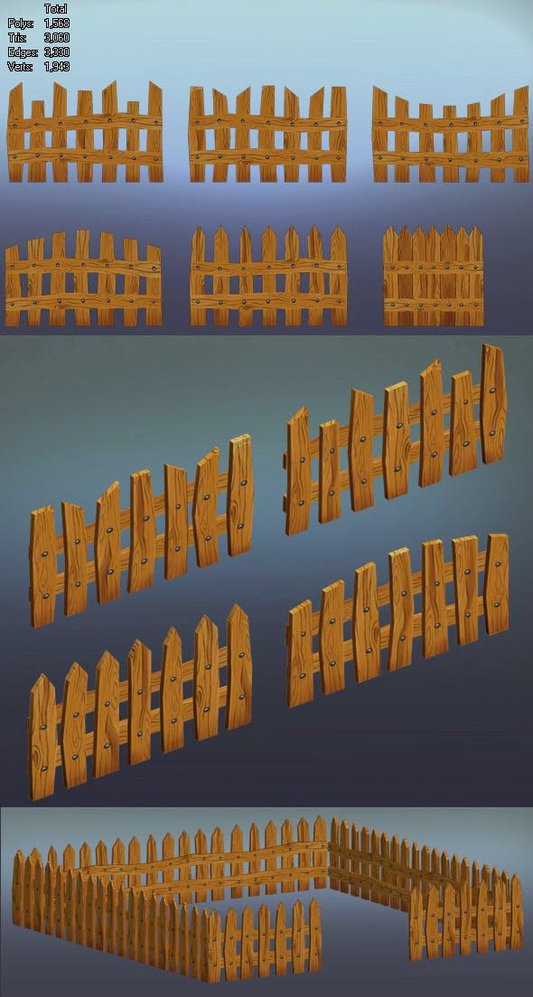 wooden fence_1 - 3DOcean Item for Sale