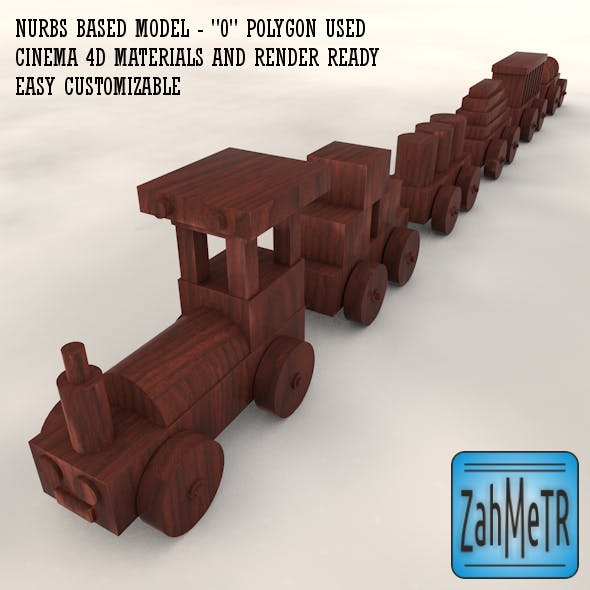 Wooden Train Car Toy Nurbs Based