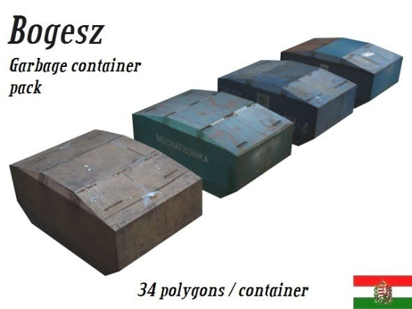 Textured Garbage Container Pack (Low Poly) - 3DOcean Item for Sale