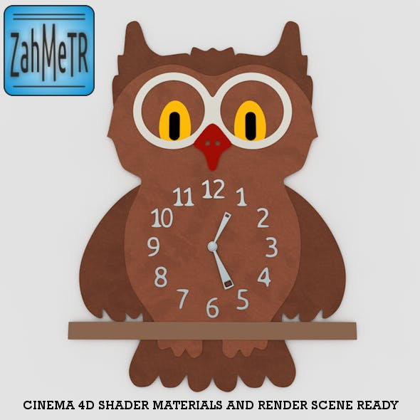 Owl Wall Clock - 3DOcean Item for Sale