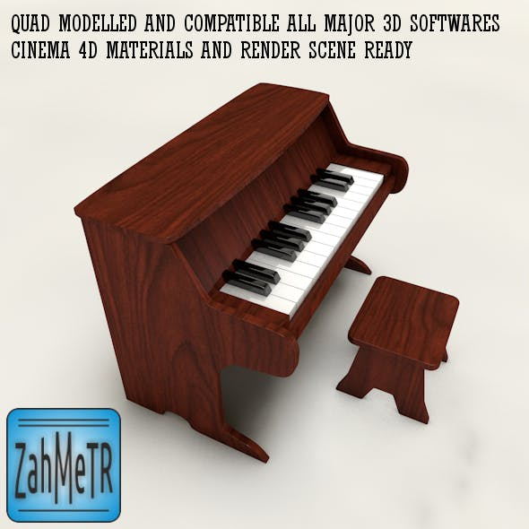 Miniature Piano Toy and Quad Mesh