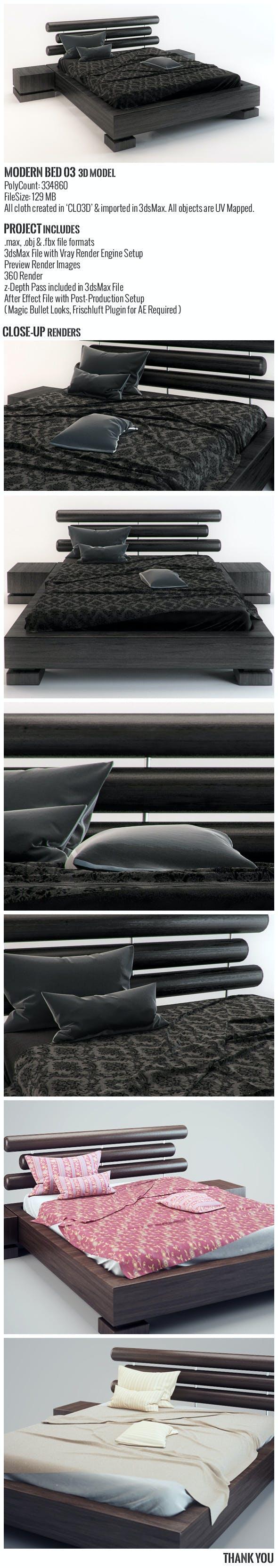 Modern Bed 03 3D Model - 3DOcean Item for Sale