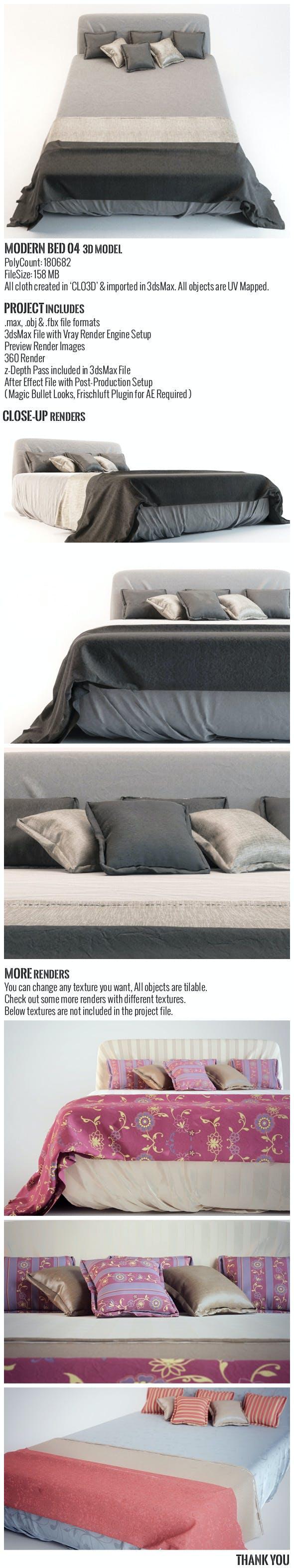 Modern Bed 04 3D Model - 3DOcean Item for Sale