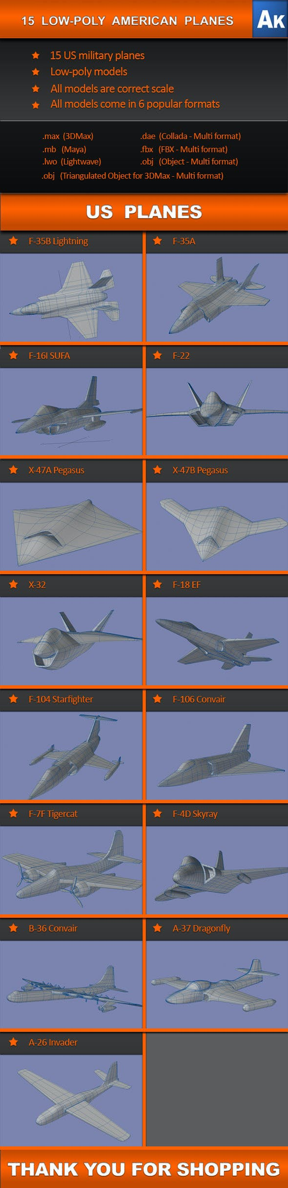 15 Low Poly US planes   - 3DOcean Item for Sale
