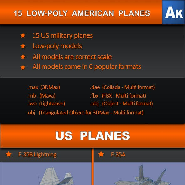 15 Low Poly US planes