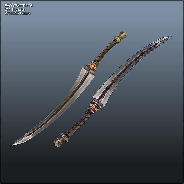 Low Poly Simple Short Sword 05 - 3DOcean Item for Sale