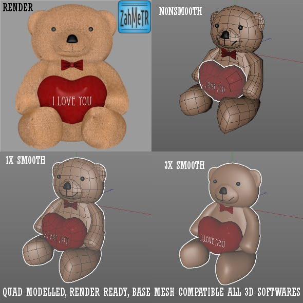 Teddy Bear and Heart - Quad Base Mesh