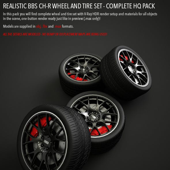 Realistic BBS CH-R Wheel and Tire Set HQ
