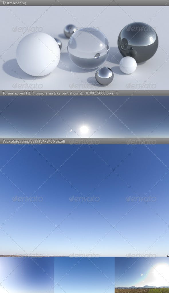 HDRI spherical sky panorama -1434- sunny noon sky - 3DOcean Item for Sale