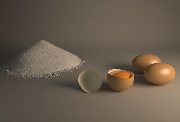 Egg and Flour Scene - 3DOcean Item for Sale