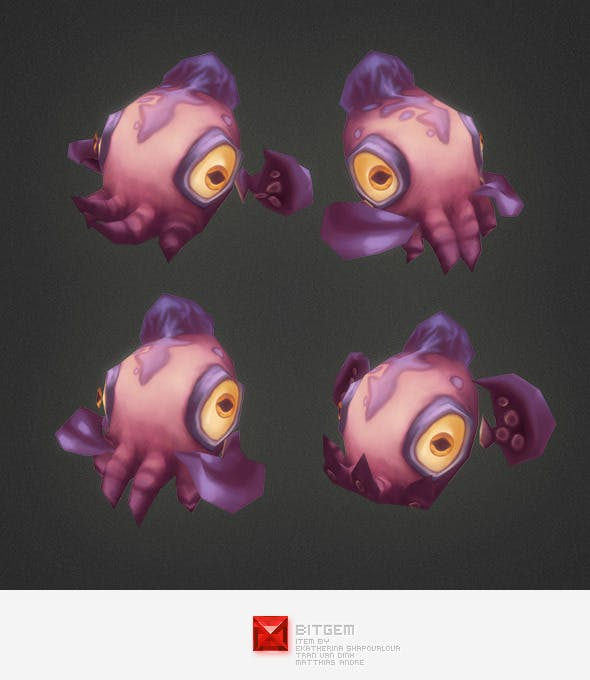 Low Poly Micro Squid Dave - 3DOcean Item for Sale