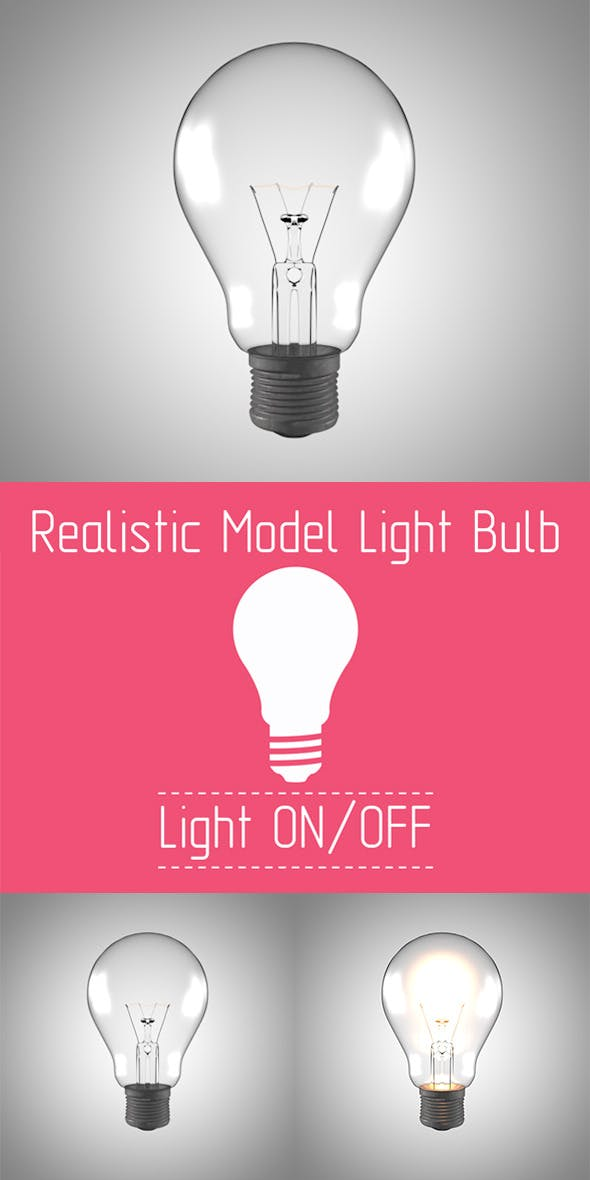 Realistic Model Light Bulb with Render Setup  - 3DOcean Item for Sale