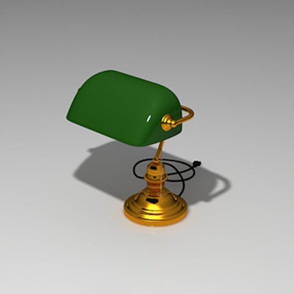 Realistic Vintage Banker's Desk Green Lamp Model