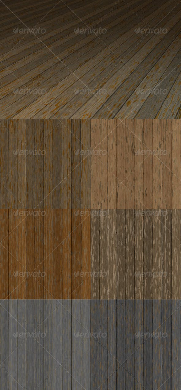 6 Old Worn Wood Plank Textures Pack - 3DOcean Item for Sale