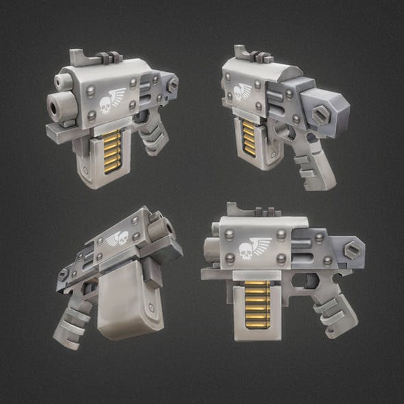 Low Poly Hand Gun 01