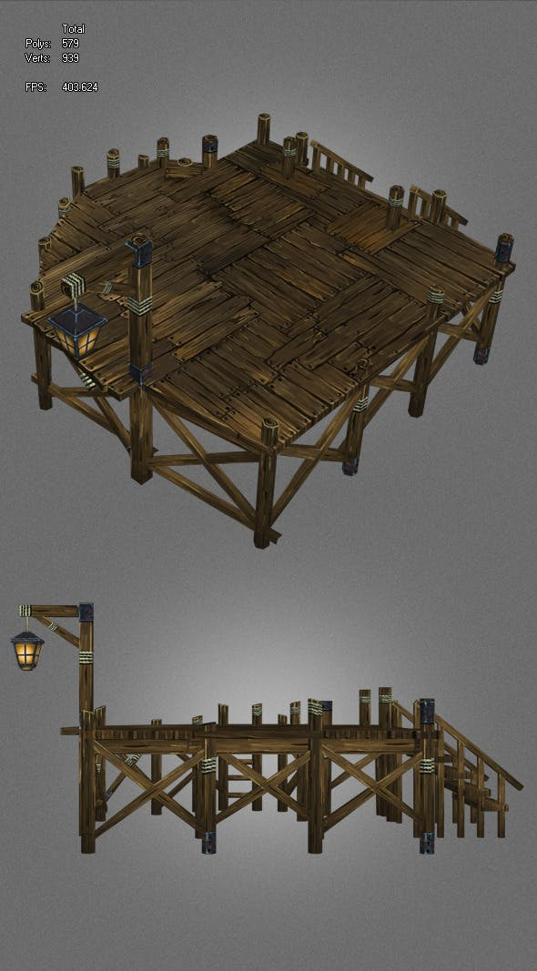 low poly ancient pier - 3DOcean Item for Sale