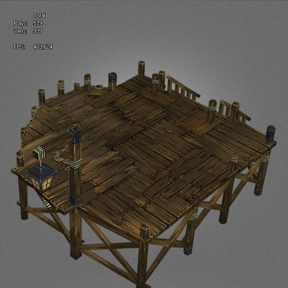 low poly ancient pier