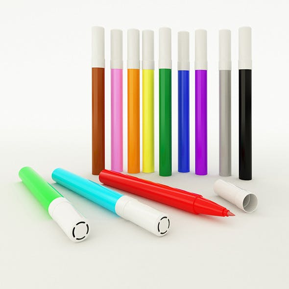 Customizable Coloured Marker with Vray Materials