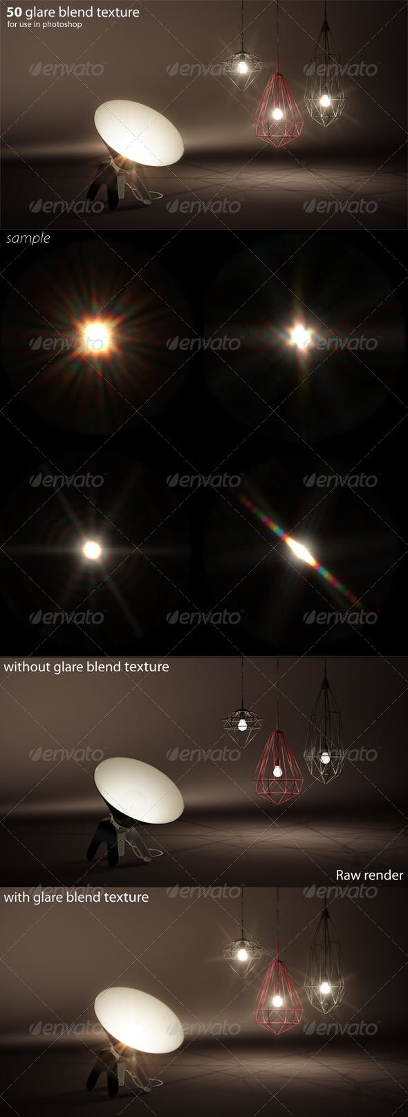 50 glare textures - 3DOcean Item for Sale