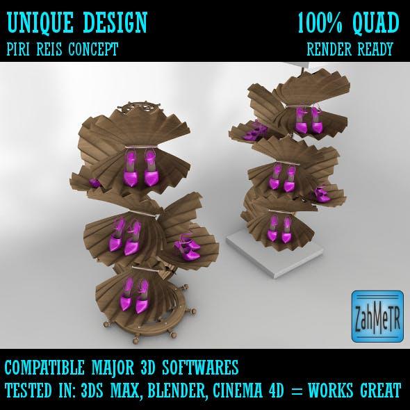 Clam Shell Shoes Showcase Platform - 3DOcean Item for Sale