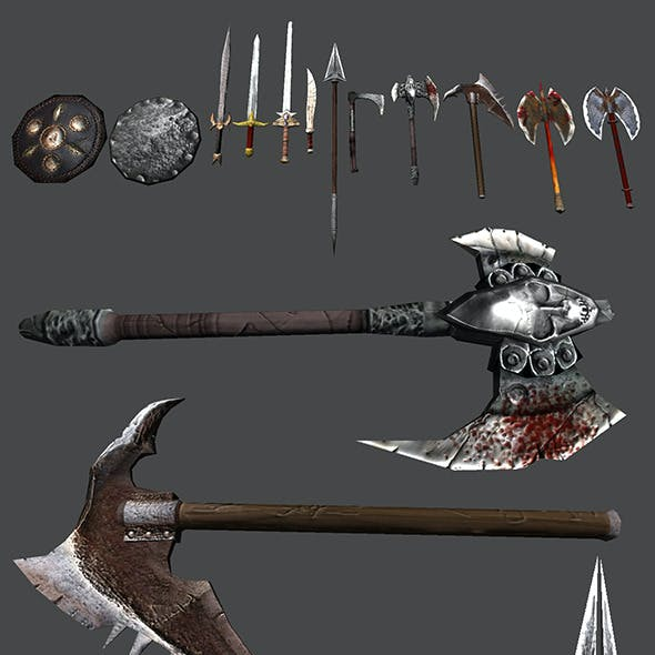 Cold Weapons LowPoly Models Pack